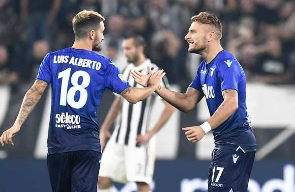 Luis Alberto and Ciro Immobile celebrate a goal against Juventus, Source- Lazio News 24