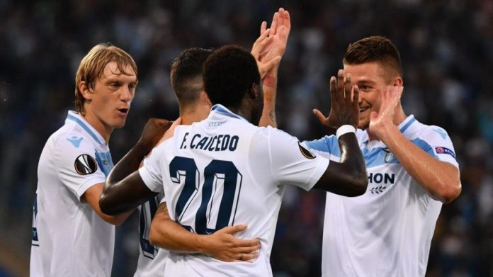 Lazio celebrating a goal against Apollon Limassol, Source- Eurosport