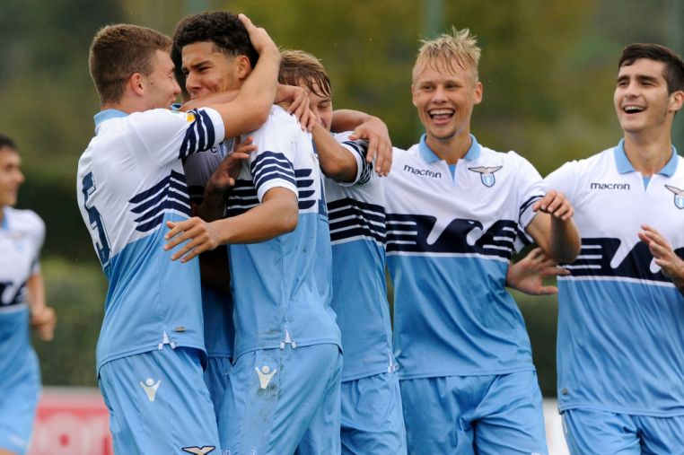 ROME, ITALY - NOVEMBER 03:  Luan Capanni and Alessio Bianchi of SS Lazio celebrates a opening goal during the Serie A Primavera  match between SS Lazio U19 and Crotone U19 at  on November 3, 2018 in Rome, Italy.  (Photo by Marco Rosi/Getty Images)