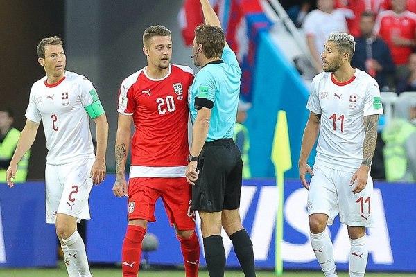 Milinković-Savić in competitive action in a Serbia shirt, Source- Эдгар Брещанов