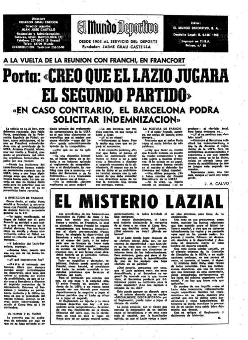 'El Mundo Deportivo' 22 October 1975, Source- LazioWiki.Org