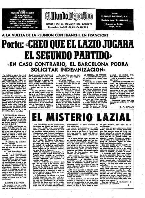 'El Mundo Deportivo' 22 October 1975, Source- LazioWiki.Org