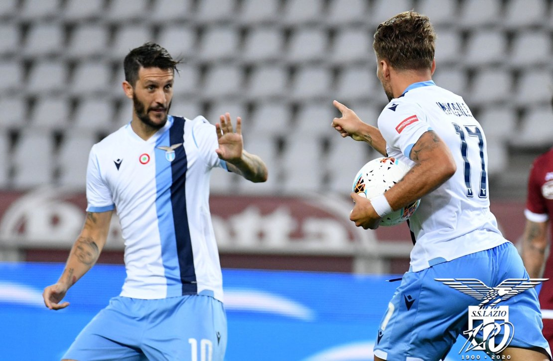 Ciro Immobile and Luis Alberto Celebrating Immobile's Goal Against Torino in the 2019/20 Serie A, Source- Official S.S. Lazio