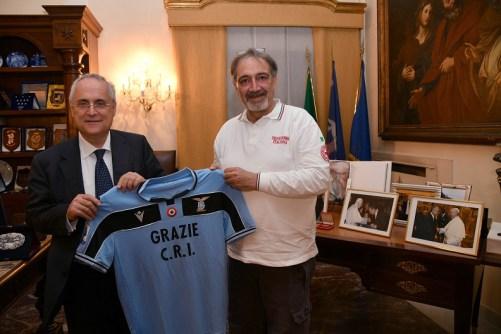 Lazio President Claudio Lotito and Croce Rossa Italiana President Francesco Rocca