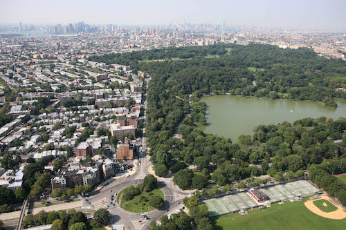 Brooklyn's Prospect Park is shown in this aerial photo, Wednesday, Aug. 29, 2007 in New York. (AP Photo/Mark Lennihan)