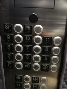 photo of elevator buttons
