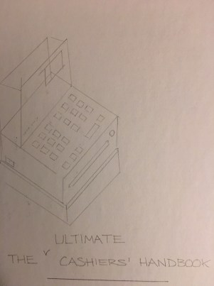 sketch of cash register for handbook