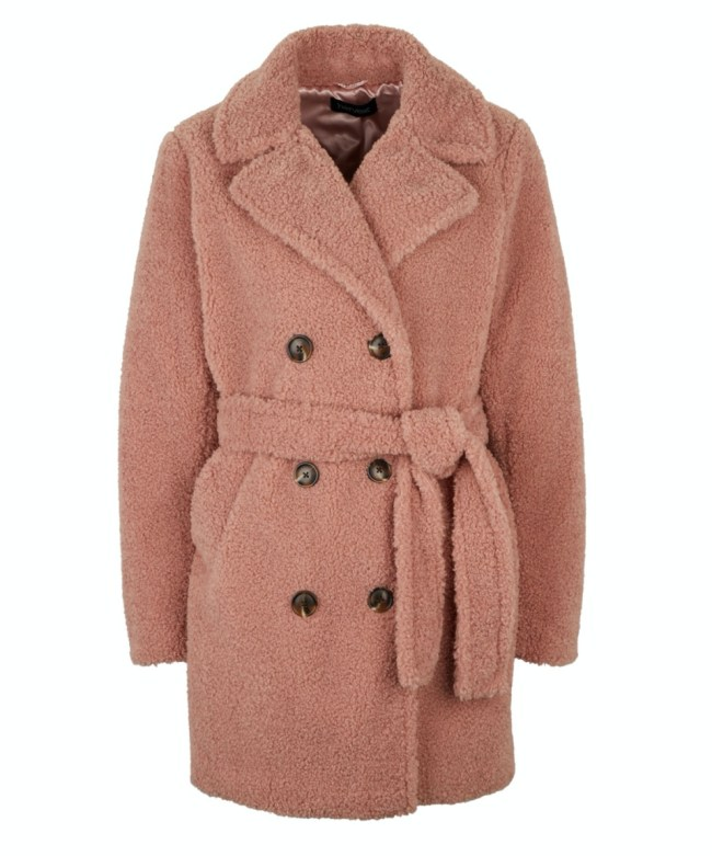 Teddy coat with very tie waist