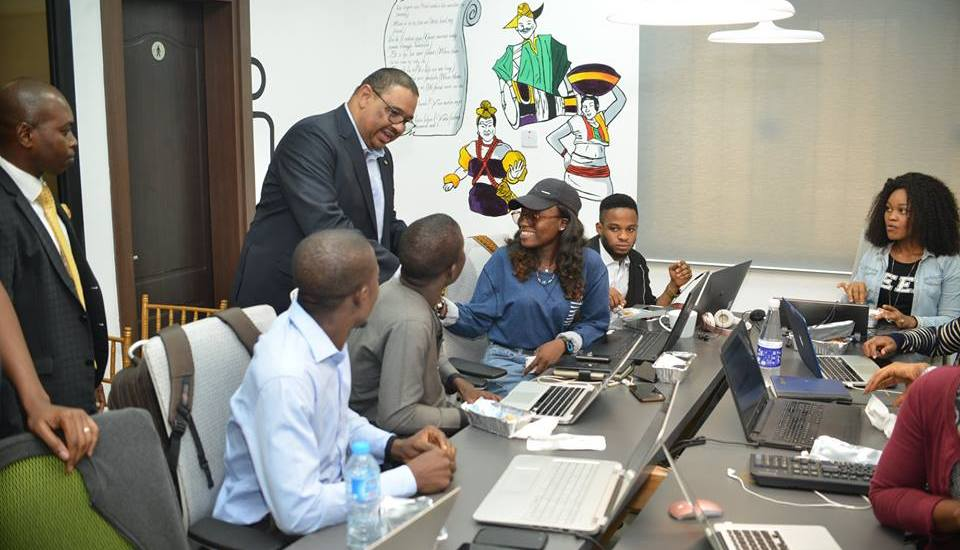 Managing Director of FCMB, Mr Nuhu, interacting with members of Hub One community