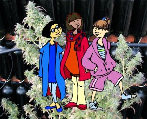 teen girls plant cartoon