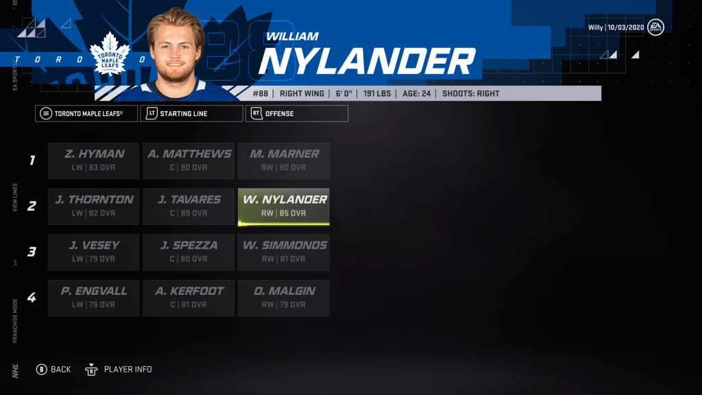 NHL 21 predicts the rest of William Nylander's career