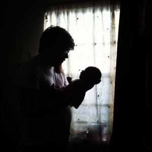 daddy with baby silhouette