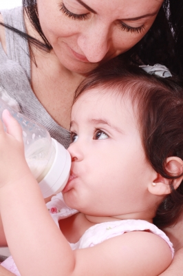 Mama and baby with bottle