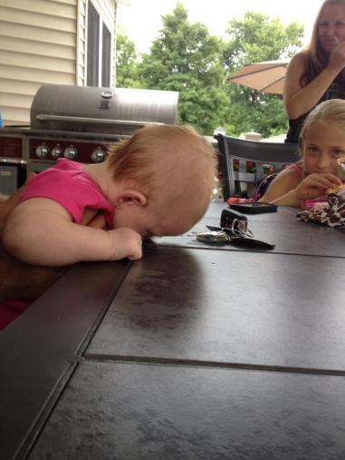 sleeping face against table