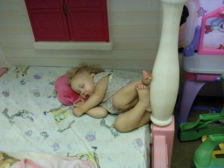 sleeping in play house