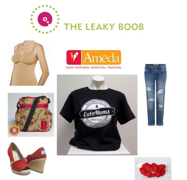 Ameda nursing tank, Eat@Moms shirt, Tom's High Heel Shoes, Vintage Honey Nursing Necklace, Luv My Bag