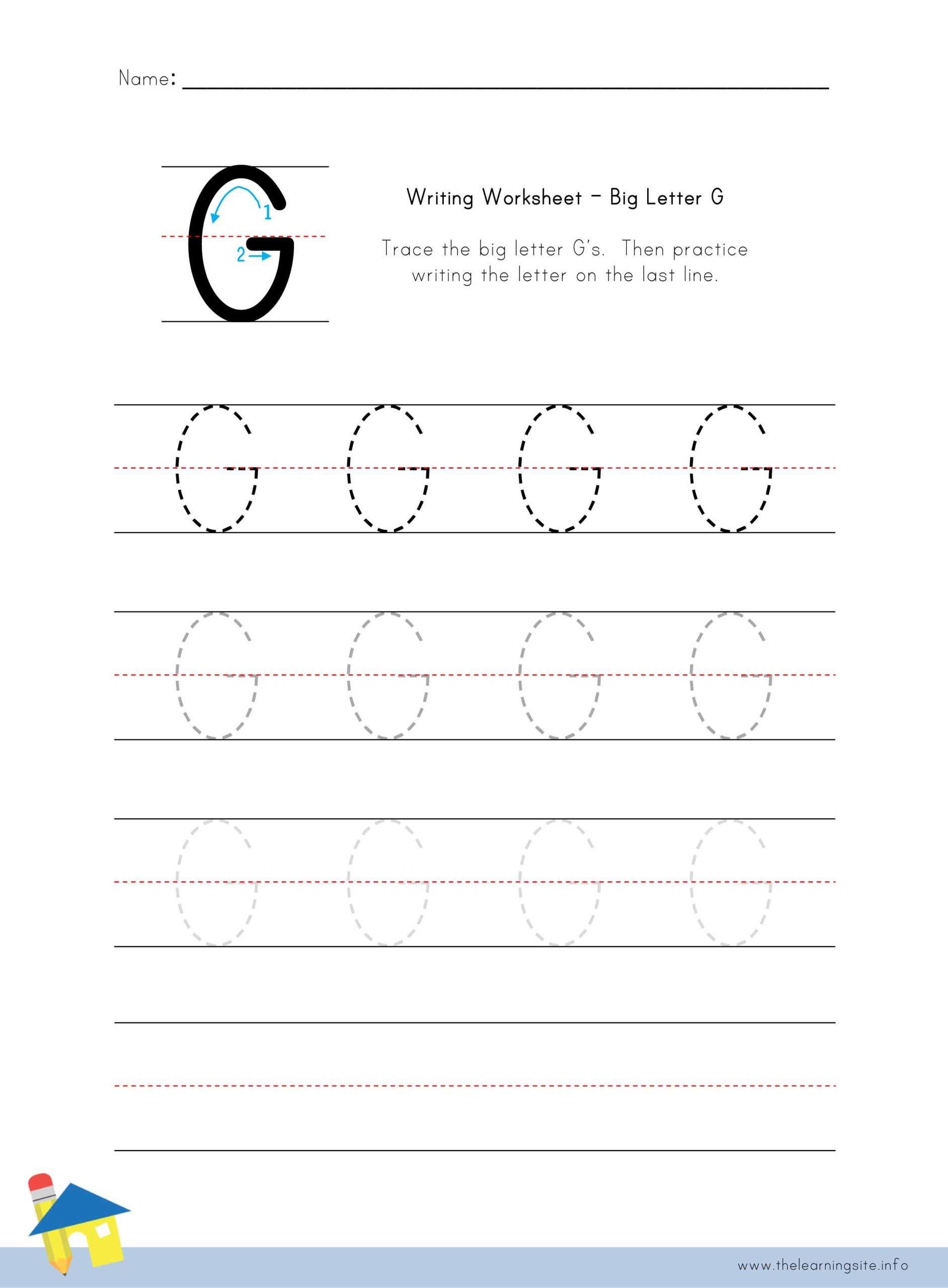 Big Letter G Writing Worksheet The Learning Site
