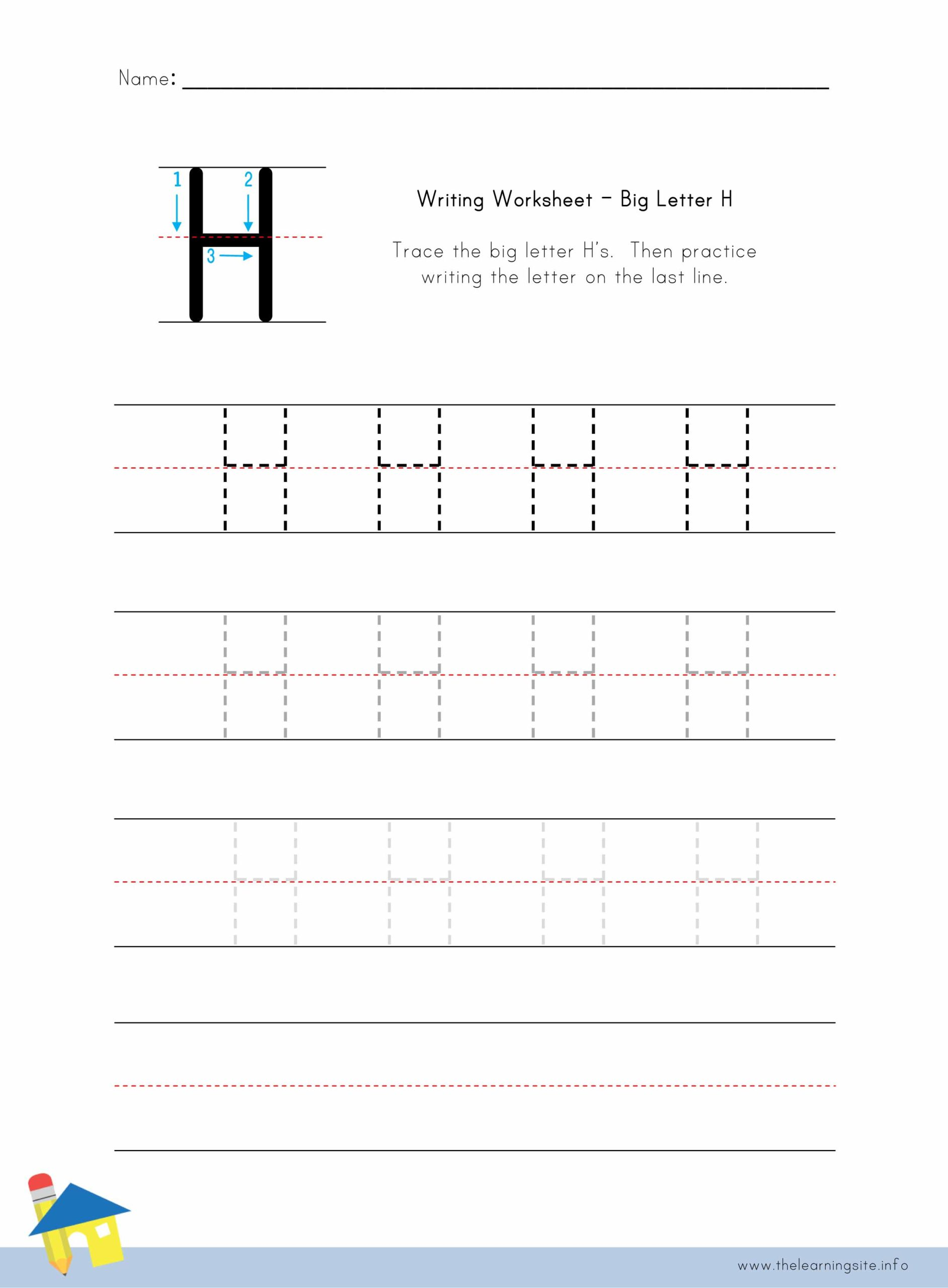 Big Letter H Writing Worksheet The Learning Site