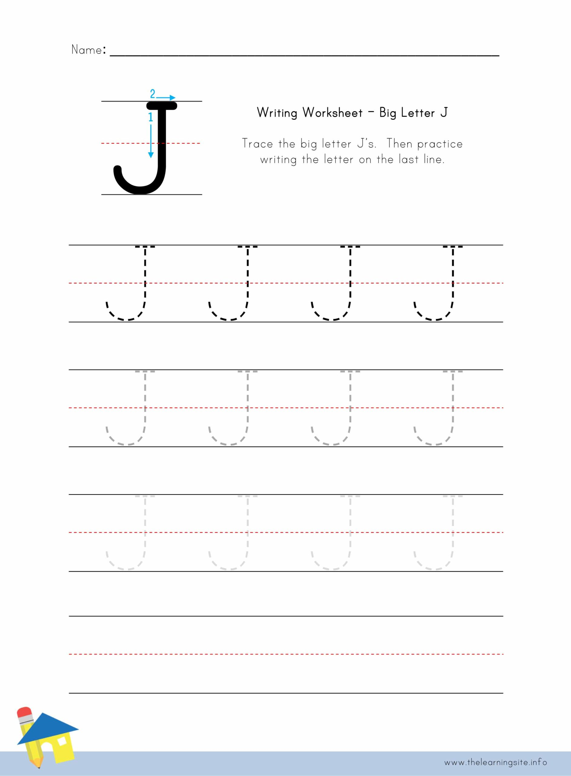 Big Letter J Writing Worksheet The Learning Site