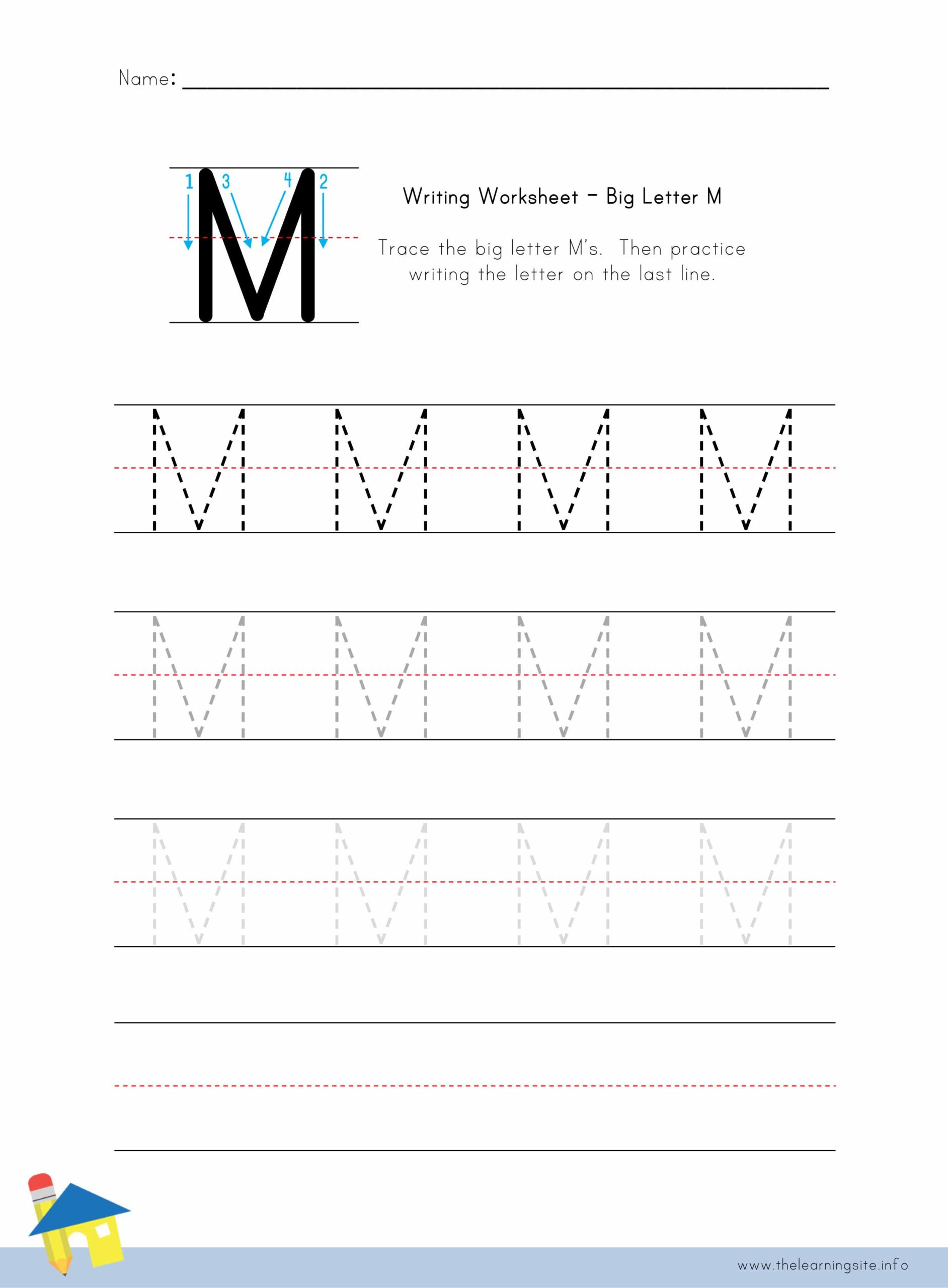 Big Letter M Writing Worksheet The Learning Site