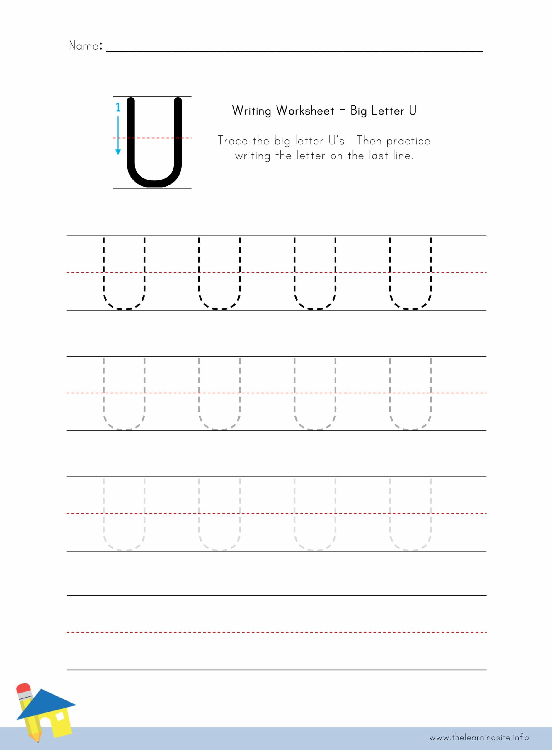 Big Letter U Writing Worksheet The Learning Site
