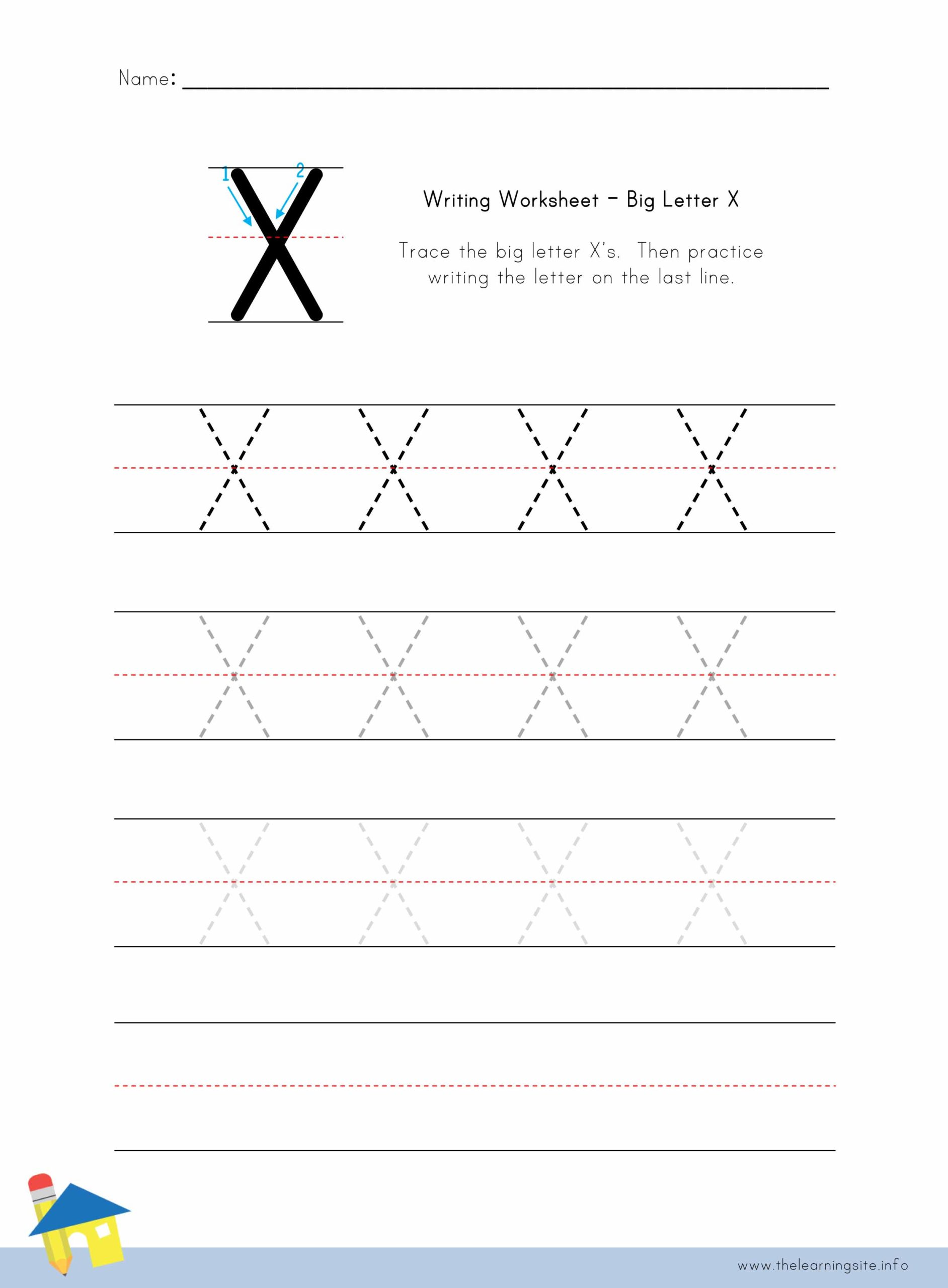 Big Letter X Writing Worksheet The Learning Site