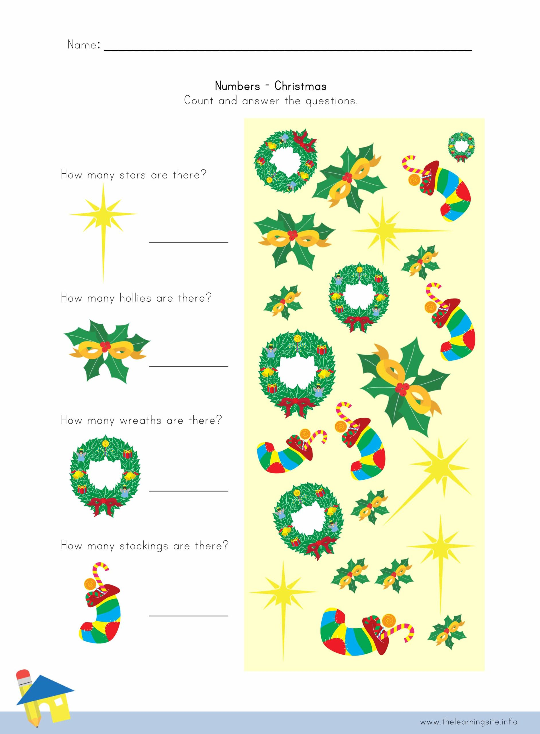 Christmas Number Worksheet 3 The Learning Site