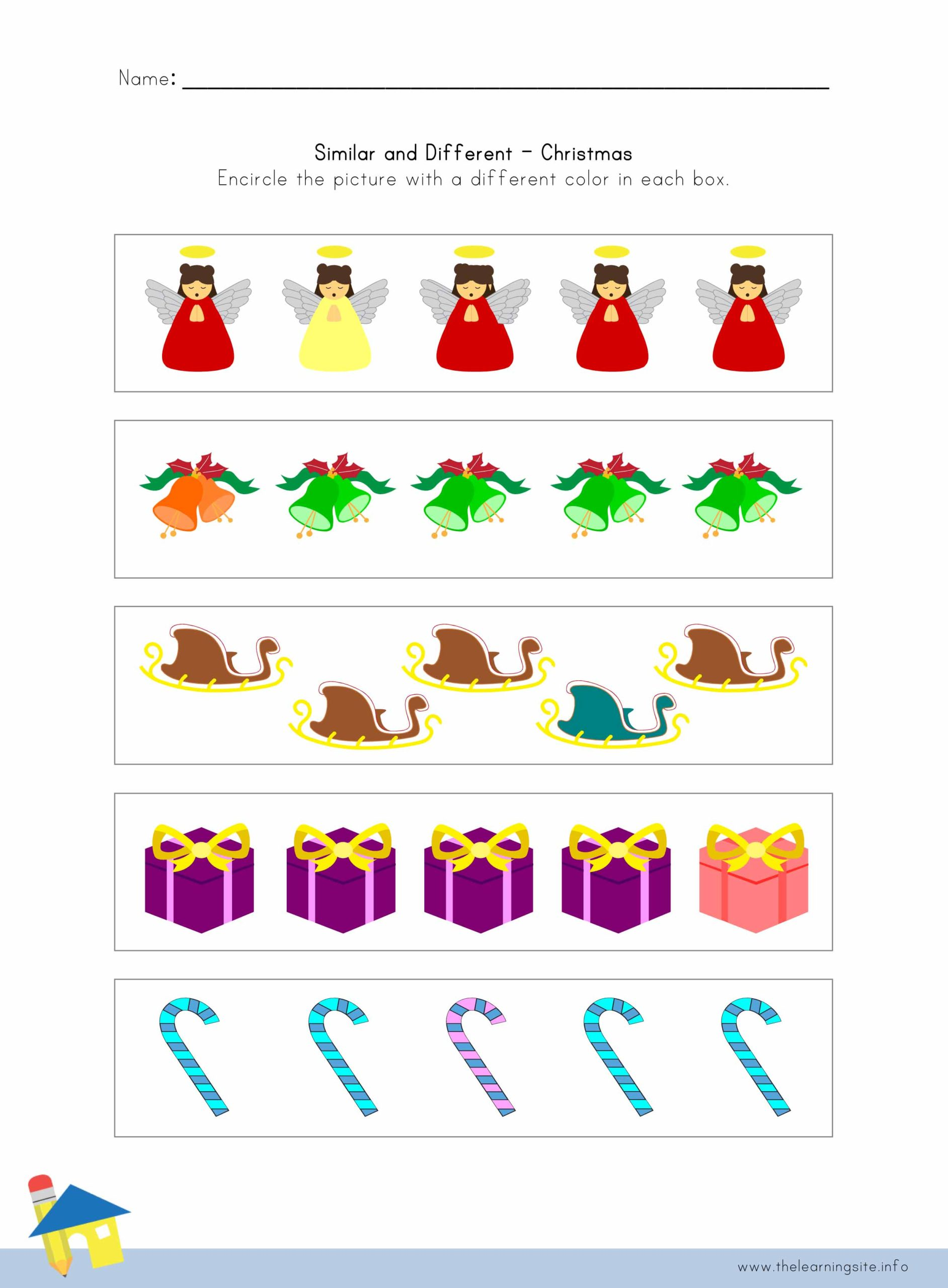 Christmas Similar And Different Worksheet 1 The Learning