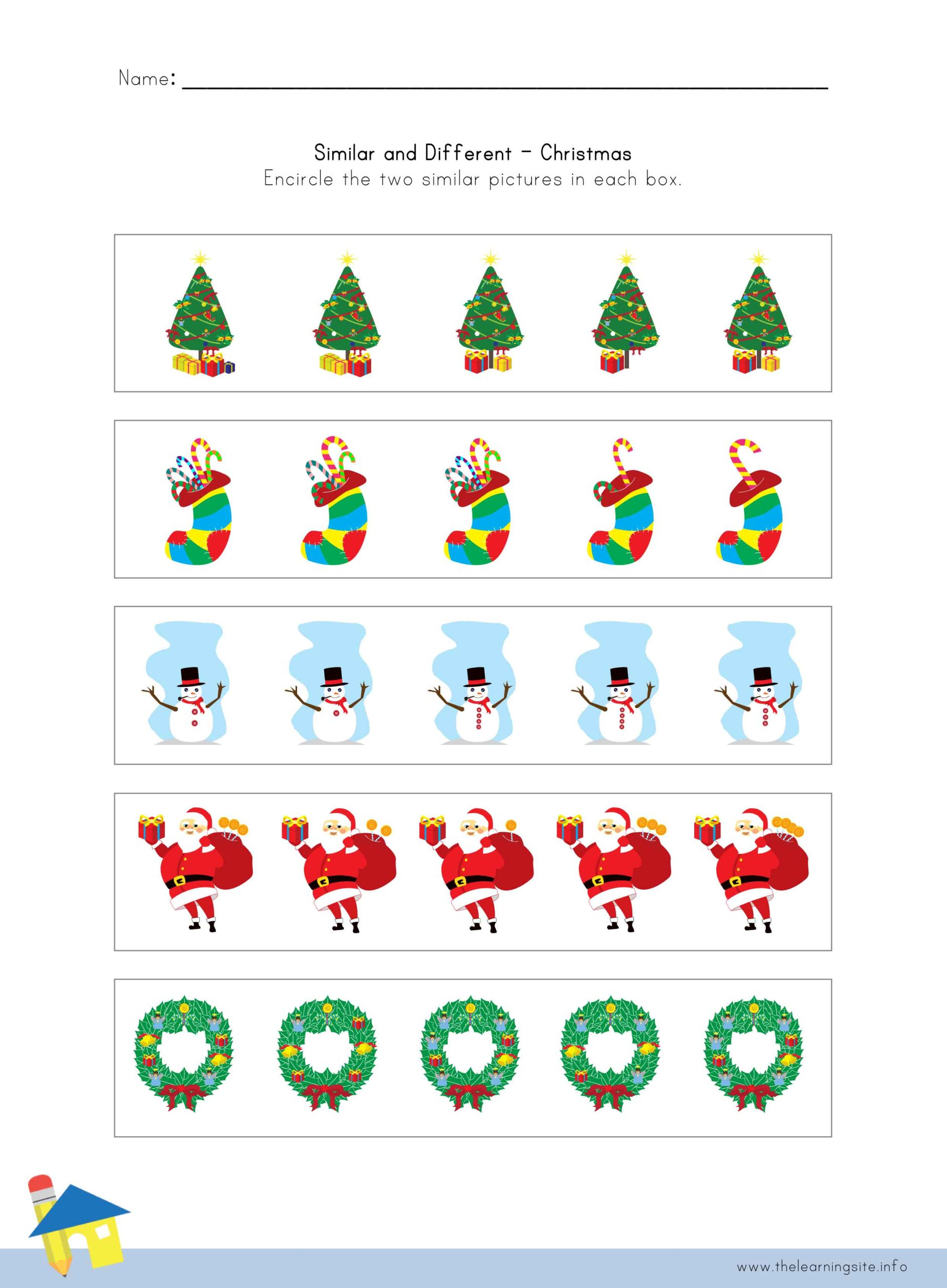 Christmas Similar And Different Worksheet 3 The Learning