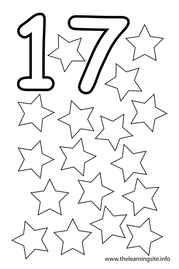 number 17 Colouring Pages