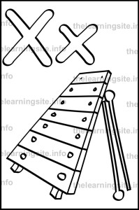 coloring-page-outline-alphabet-letter-x-simple-xylophone