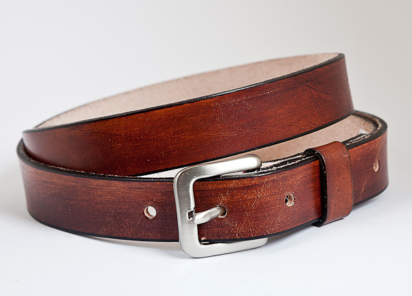 25mm Cognac Mottled Leather Handmade Belt