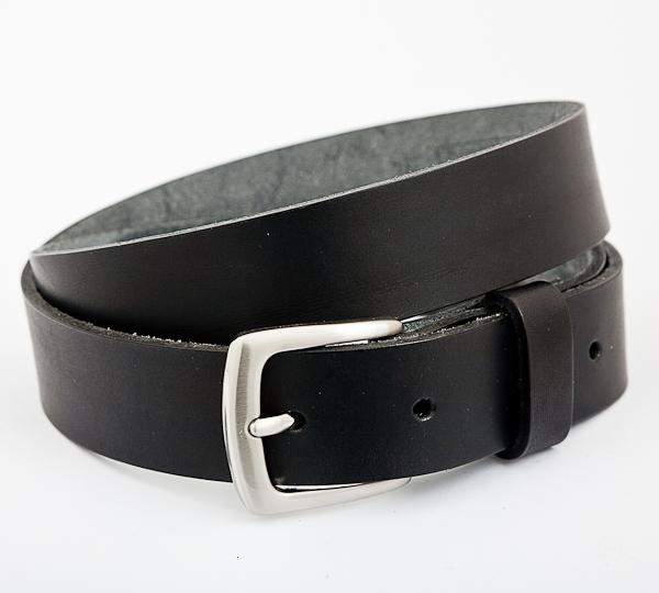 3cm Black Leather Belt with nickel plated buckle