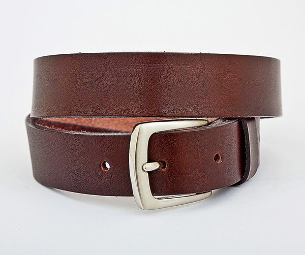 3cm Dark brown leather belt with nickel plated buckle