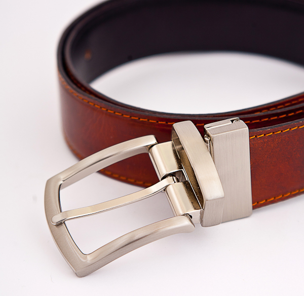3.5cm Reversible Cognac Nickel Plated Belt