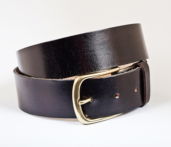 40cm Black Leather Brass Buckle