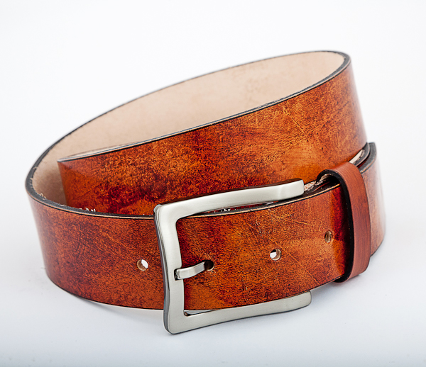 40cm Cognac Mottled Leather Nickel Plated Buckle