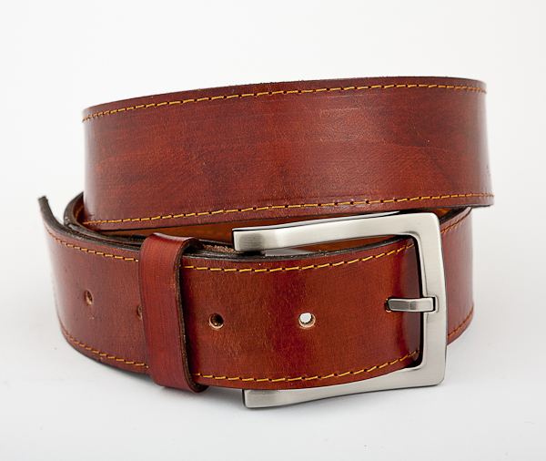 40cm Cognac Mottled Leather Money Belt with Nickel Plated Buckle