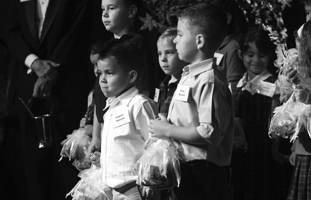 Students representing CEF schools hand out rosaries at the 2011 Gaudeamus event. This year Gaudeamus will be held on Nov. 2 at the Overland Park Convention Center.