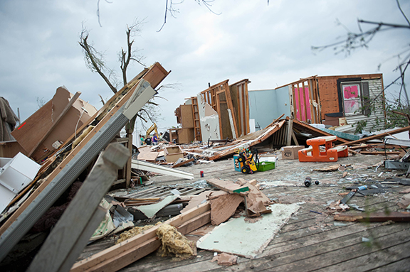 A few interior walls are all that remained standing of the Becker home near Corning after a tornado, reported to be an EF3, struck on May 28. Despite the property losses, the family expressed gratitude that they came out of the basement unharmed and for the help and support of friends.