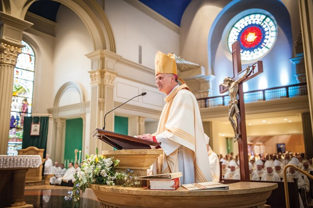 Bishop James V. Johnston addresses the people of the Diocese of Kansas City-St. Joseph at his installation ceremony on Nov. 4.