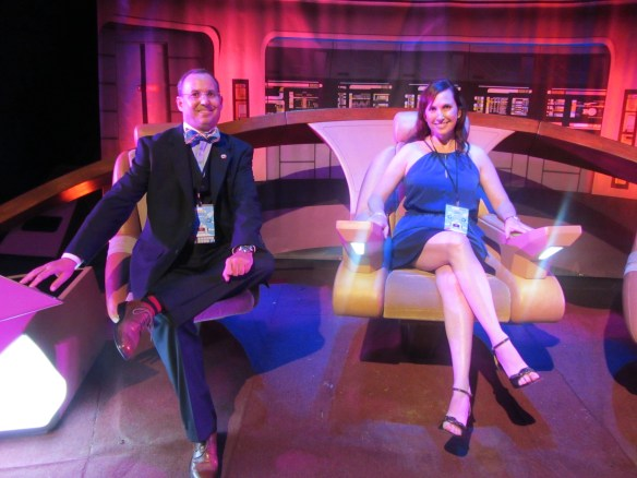 On the Bridge of the Enterprise-D. I'd love to do a Star Trek video podcast from there. Yes, I was the gentleman and let my friend sit in the Captain's Chair first.
