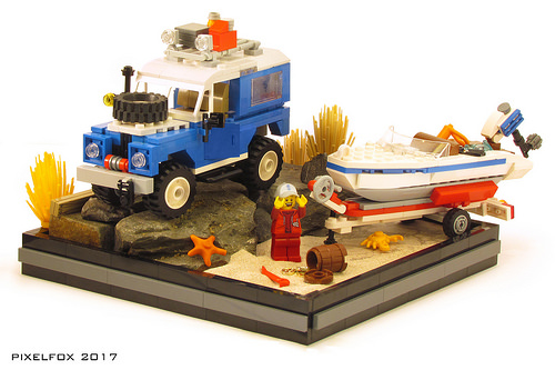 Lego Land Rover Boat Tow