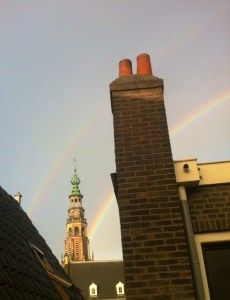 Rainbow on Leiden's Townhall