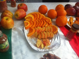 "Apples and Oranges with Mexican spices which ""you put on anything to make it delicious""! Yum!"