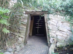 The entrance build like an old mine entrance.