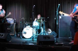 My friend is in the midst of a drum solo.