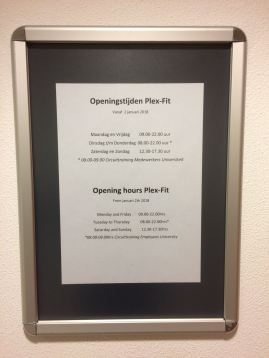 Opening times for Plexfit.