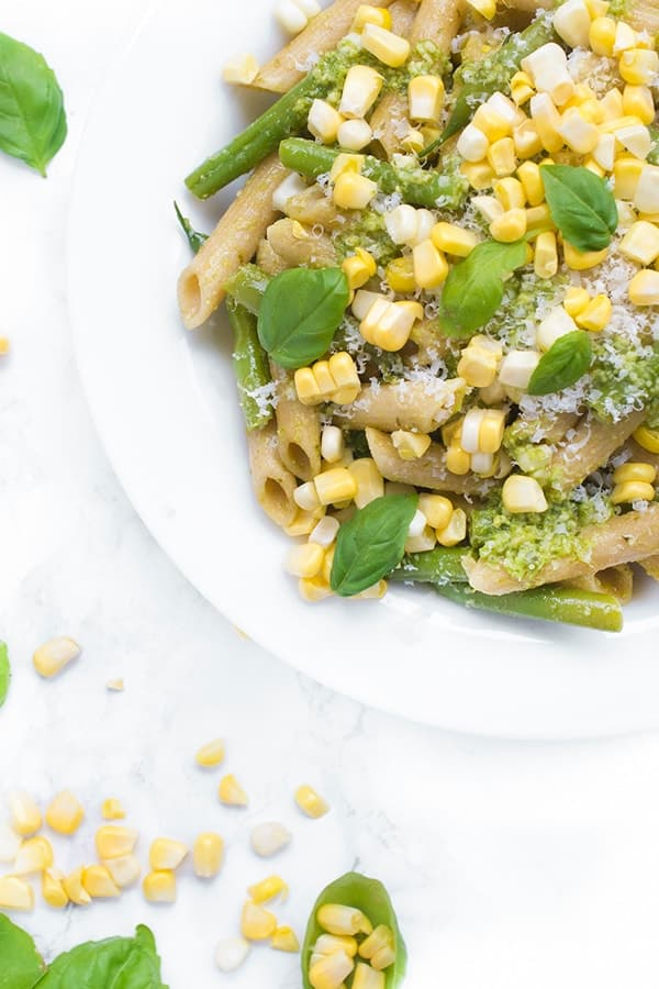 Pesto Pasta Salad with Green Beans and Corn  The Lemon Bowl