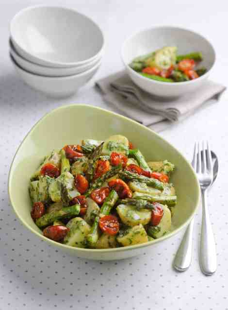 Minted pesto British asparagus potato salad
